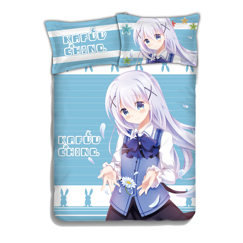 Chino Kafuu - Is the Order Rabbit Japanese Anime Bed Sheet Duvet Cover with Pillow Covers